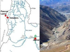 La imagen de la izquierda muestra la ubicación de los emprendimientos de Pascua Lama y Veladero en San Juan, y la cuenca de Jáchal. La de la derecha muestra el río Las Taguas, afluente del río Jáchal. Imagen editada por noalamina.org