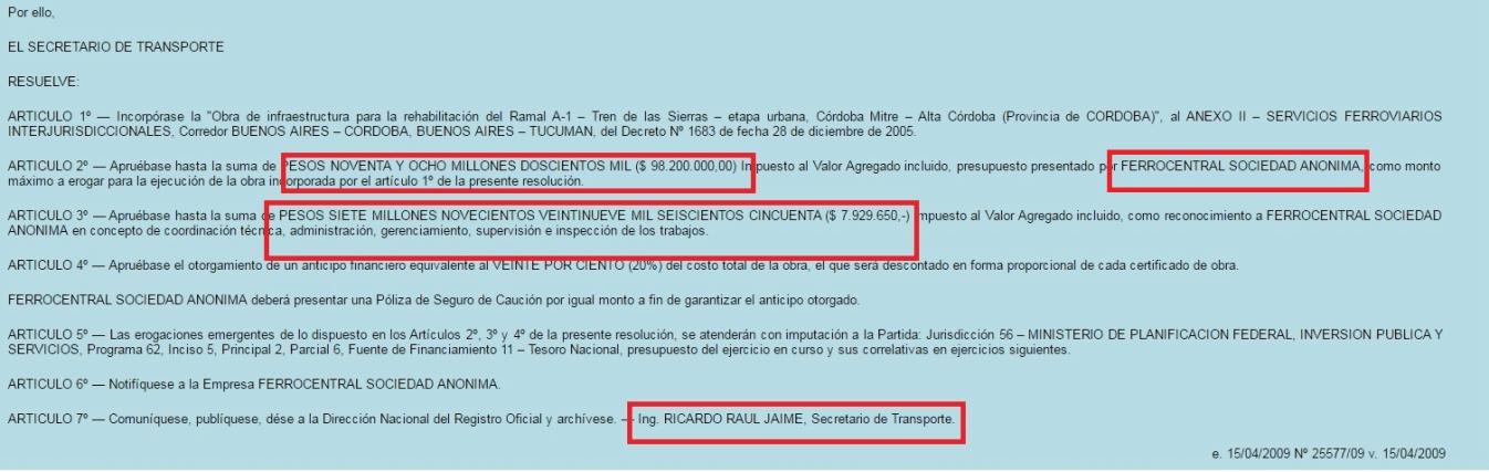 Imagen: Resolución firmada por Jaime adjudicando a Urquía (Ferrocentral) casi 100 millones de pesos.