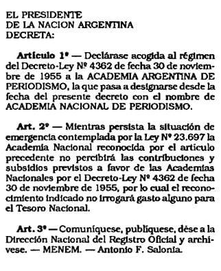 Clarín, La Nación, Ámbito, Perfil Periodismo, Academia Nacional de Periodismo