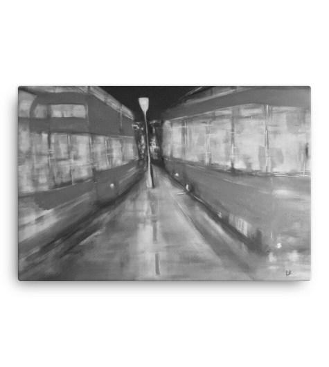 "Image of London Buses - Black+White 24"" x 36"" Canvas by artist Deborah Kalavrezou"