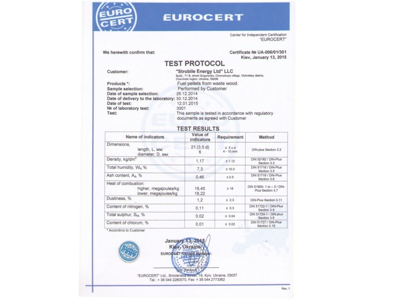 A Eurocert certification showing the result of 0,46% of ashes