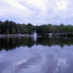 Pond at campground with fountain