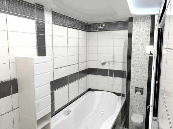 Маленькая ванная в черно-белых тонах