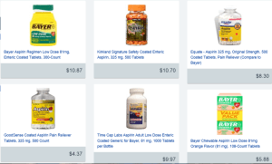 Aspirin for sale online in an assortment of packages from various producers. Image Source: GoodRx.com