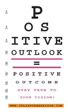 An Eye chart that spells out Positive Outlook = Positive Outcome Stay True To Your Vision