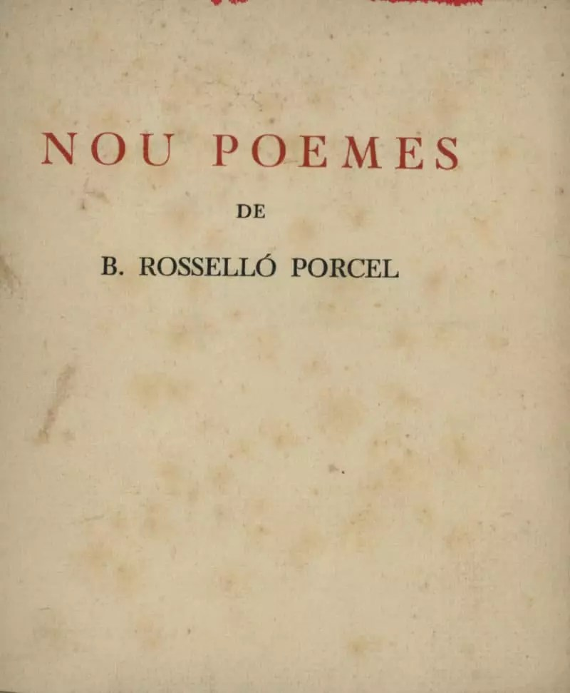 nou poemes bartomeu rossello porcel ateneu quadern de sonets mallorca jardí imitació del foc