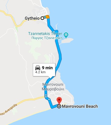 The route from Gytheio in the Mani, to the beach of Mavrovouni.