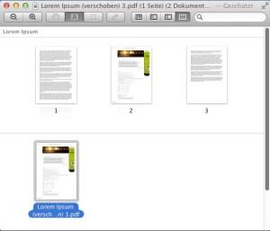 Herauslöste Seite als neues, geöffnetes Dokument