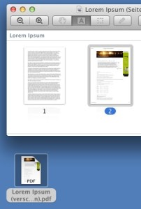 Auf dem Desktop als neues Dokument abgelegte Seite