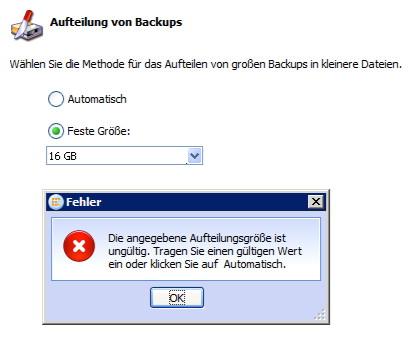 Individuelle Dateigröße bei aufgeteilten Backups in Acronis Backup & Recovery 10