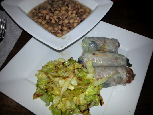 Final meal - spring rolls with sautéed cabbage and black eyed peas