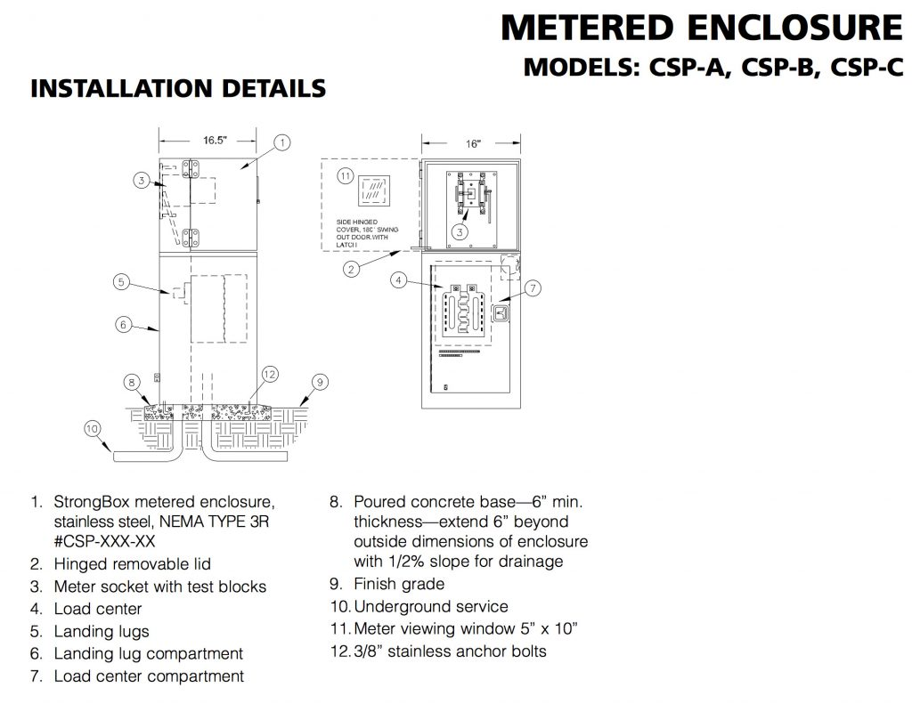 hight resolution of the encl sure shall comply with euserc electrical standards and current nec codes the enclosure shall be rated nema type 3r rain proof and be listed by