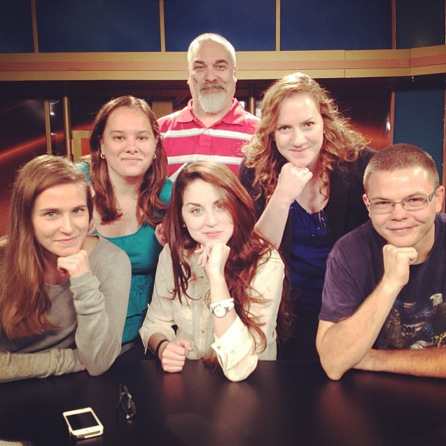 The Production crew having some fun after a newscast