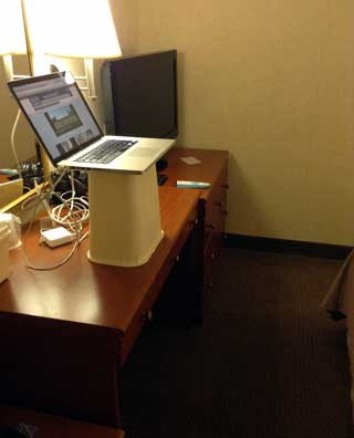 improvised hotel stand up desk