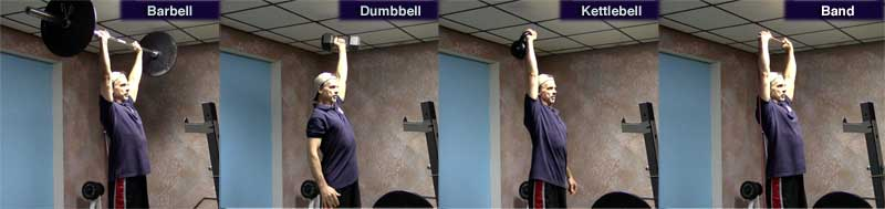 press with barbell, dumbbell, kettlebell, and band