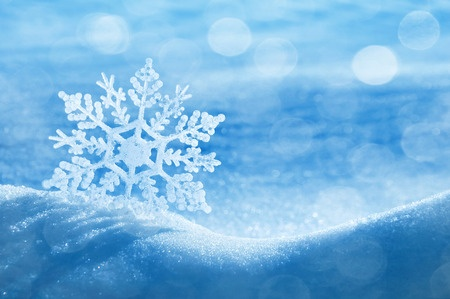 decorative snowflake on brilliant snow