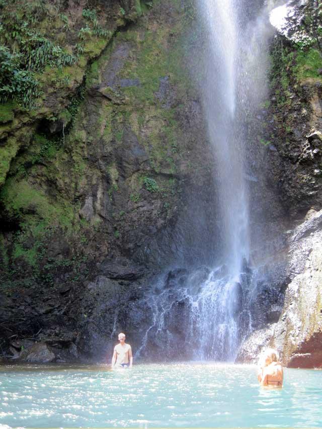 Gary under a Costa Rica waterfall