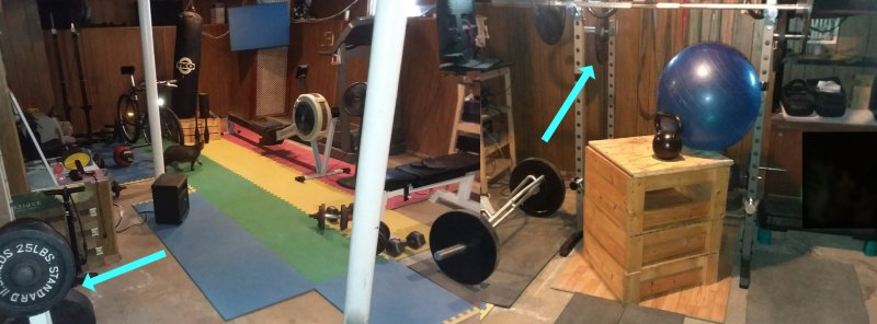 Basement gym with plates highlighted