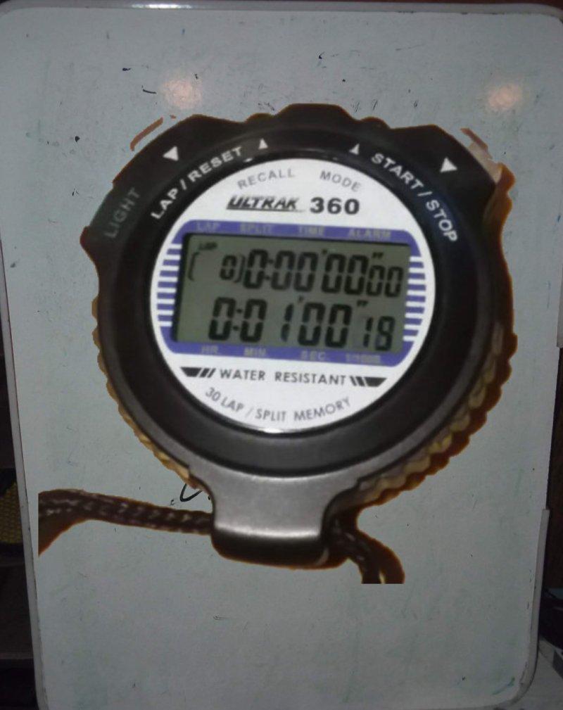 stopwatch on a whiteboard