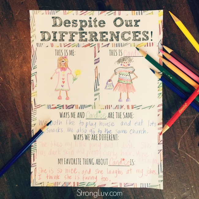 diversity worksheet for children