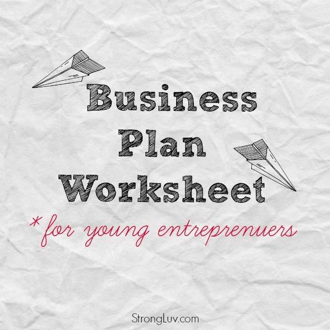 business plan worksheet kids