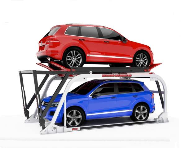 Car lift with red car on top and a blue car beneath.