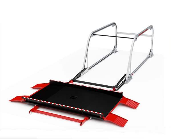 Red white and black car lift.