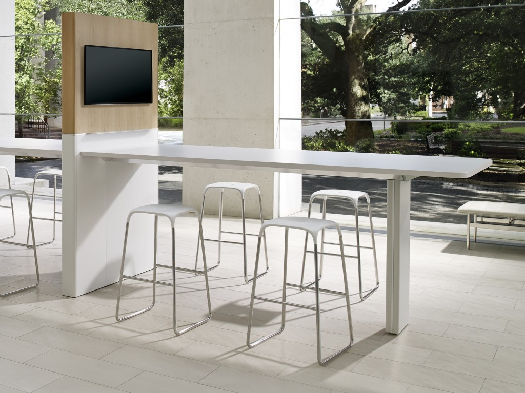 For those who want a little optimized space outside a conference wall, this bar height conference table works.