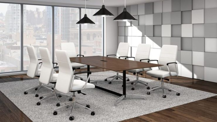 modern conference table with mounted light