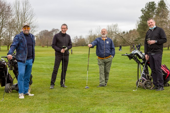 Patrick Baladi, Piers Riseley-Prichard, Keith Allen and Steve Ryder at the first tee. Picture: Carl Hewlett