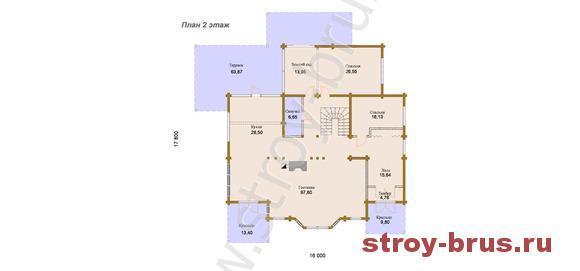 Схема второго этажа коттеджа Каскад