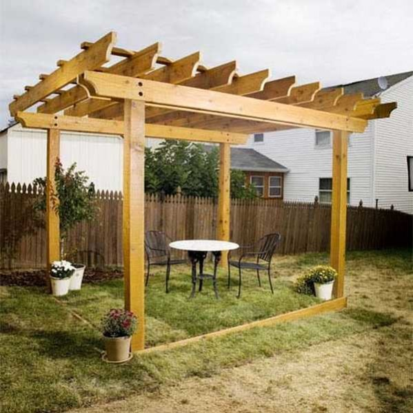 Pergola with double planks instead of main beams