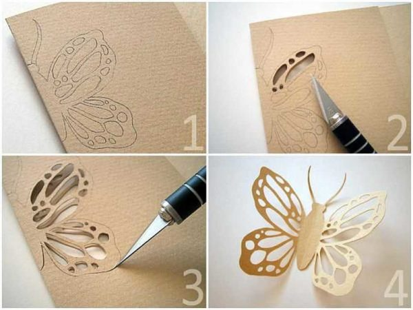Miten tehdä avoimen paperin perhonen - prosessi kuvissa