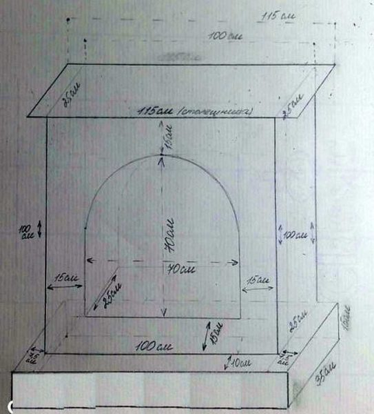 Fireplace drawing of cardboard with dimensions
