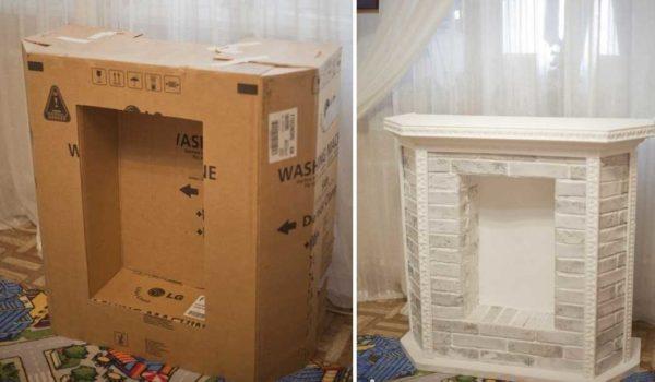 De uma caixa grande será a lareira de tamanho médio
