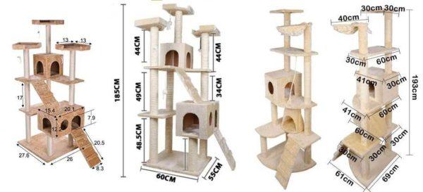 Tre versioner af feline hjørner med dimensioner