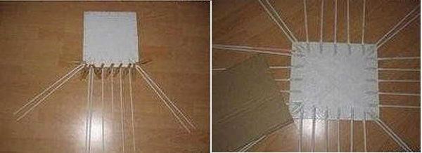Bahagian bawah kadbod untuk tenunan dari tiub akhbar