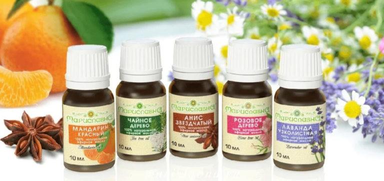 """Natuurlijke etherische oliën """"Marislavna"""": Mandarijn rood, theeboom, anijs ster, roze boom, lavendel smal"""