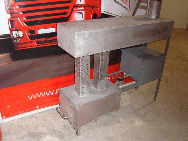 Один из вариантов печки на отработке, сделанной из листового металла