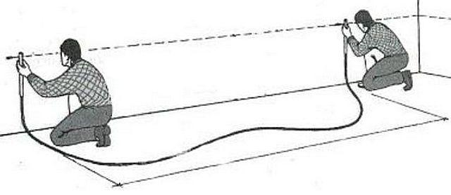 Marcas estribernas para la línea de base horizontal.