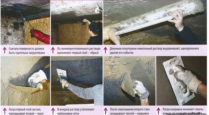 Je nach Material der Decke und ihrer Krümmung gibt es mehrere Technologien zum Verputzen.