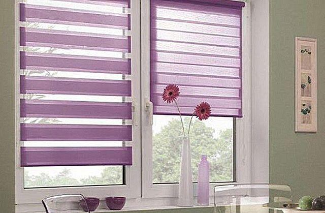 """Рулонные шторы могут использоваться как отдельно, так и в комплексе с """"классическими"""" портьерами"""