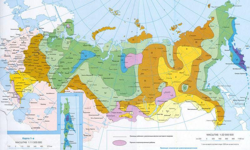 Separering av Ryska federationens territorium på zonen på snöbelastningen