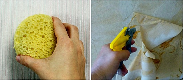 Увлажнение старых обоев на стене можно производить с помощью губки, поролонового валика или пульверизатора.