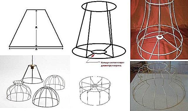 와이어 프레임의 여러 변형이 전등 쉐이드 아래에 있습니다.