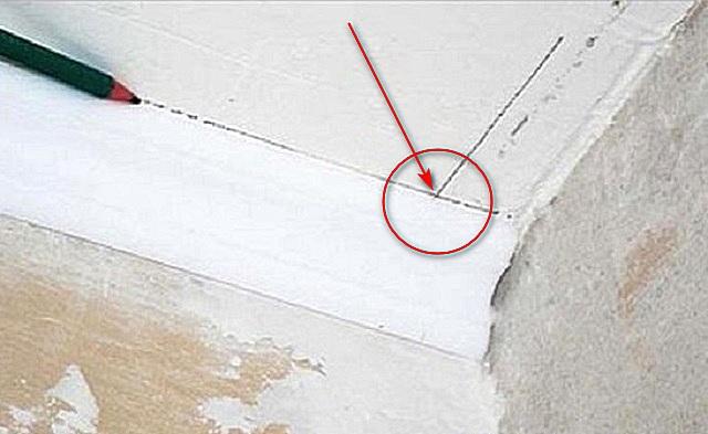 Den andra raden kommer att ge skärningspunkten från den första. Från denna punkt till punkten i vinkeln och linjerna i skäret planeras.
