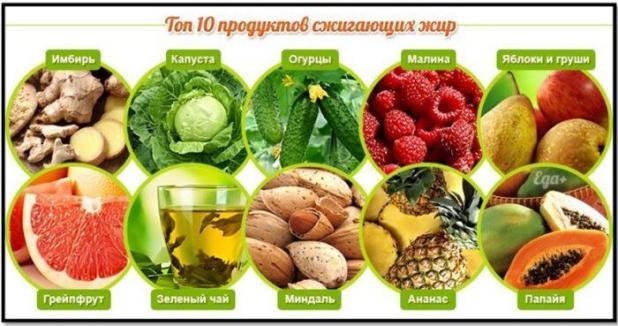 Список диетических продуктов для похудения