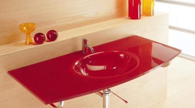 Waschbecken Glas Rot Badezimmer