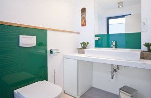 Glas Toilettenwand