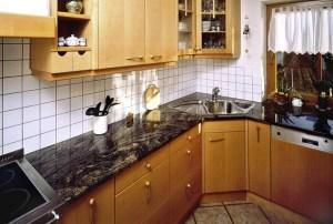 Küchenarbeitsplatte Naturstein Küche schwarz